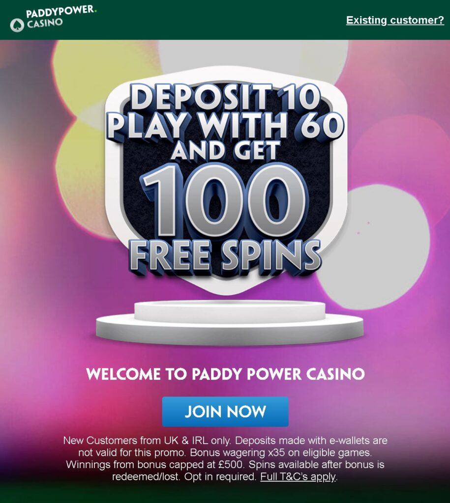Paddy Power casino sign-up offer