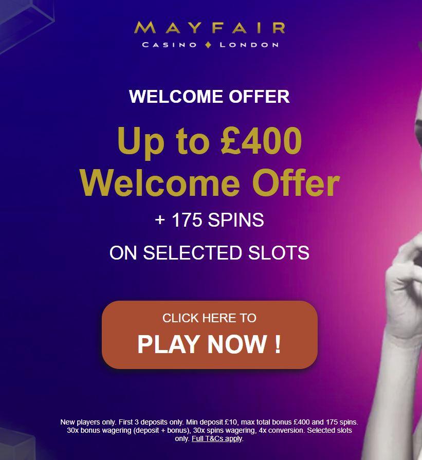 Mayfair casino sign-up bonus 2021