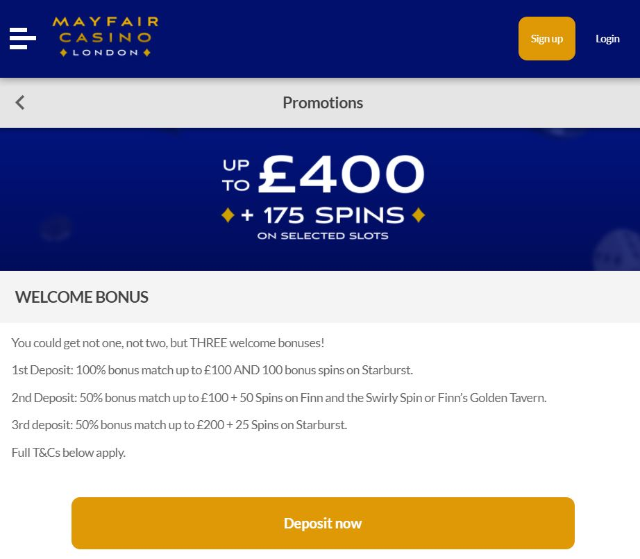 Mayfair online casino bonus