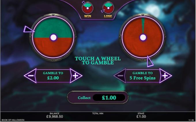 Book of Haloween bonus gamble