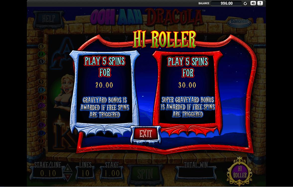 Ooh Aah Dracula high roller bonus