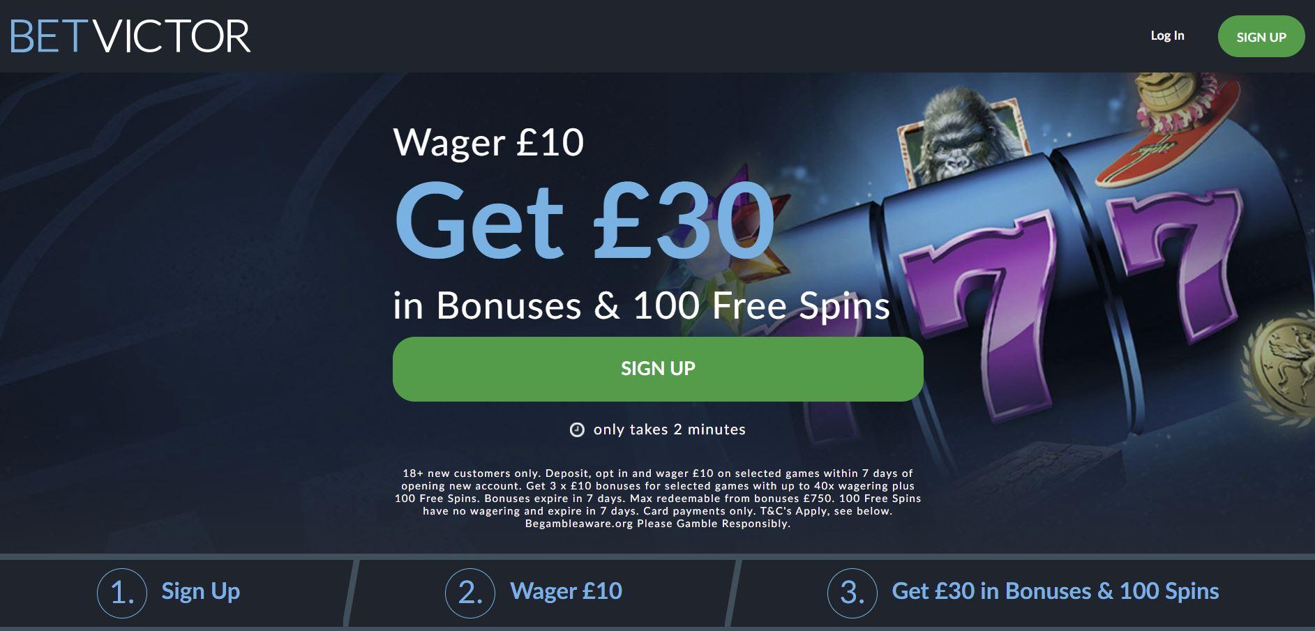 Bet Victor casino sign-up bonus