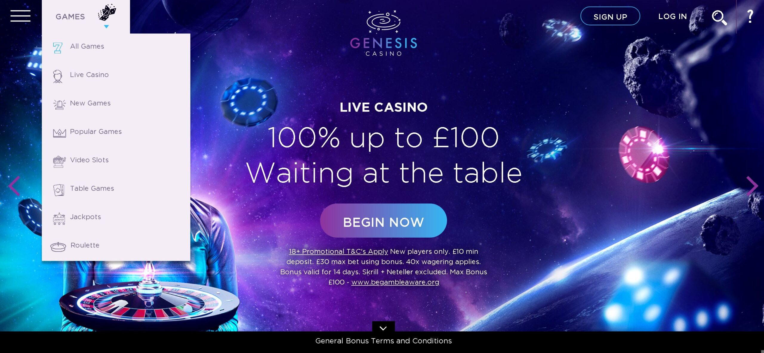 Genesis casino live casino sign-up offer